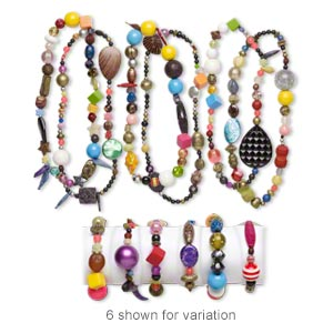 Necklace Bracelet Mix, Stretch, Acrylic, Mixed Colors, 5mm-50x49mm Mixed Shapes. Sold Per Pkg 3 Sets B8578CL