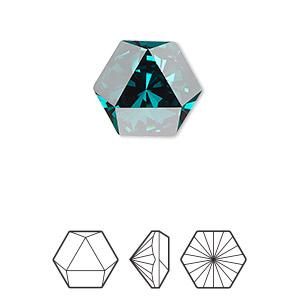 0817ea5d676 Embellishment, Swarovski® crystal rhinestone, emerald, foil back, 16x14mm  faceted hexagon kaleidoscope fancy stone (4699). Sold per pkg of 24.