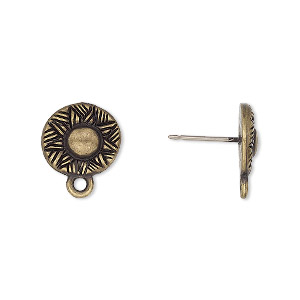 Earstud Components Brass Plated/Finished Gold Colored