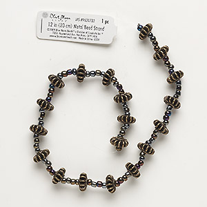 """Bead, Blue Moon Beads®, Antiqued Brass-finished """"pewter"""" (zinc-based Alloy), 12x6mm Flower. Sold Per 12-inch Strand"""