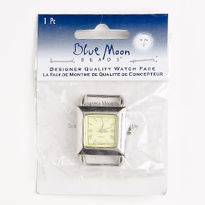 "Watch Face, Blue Moon Beads®, Glass / Stainless Steel / Nickel-finished ""pewter"" (zinc-based Alloy), Green, 26x26mm Square Dial 2 End Bars. Sold Individually. (May Require Replacement Battery"