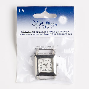 """Watch Face, Blue Moon Beads®, Glass / Stainless Steel / Nickel-finished """"pewter"""" (zinc-based Alloy), White, 26x26mm Square Dial 2 End Bars. Sold Individually. (May Require Replacement Battery"""