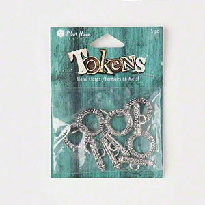 "Clasps, Blue Moon Beads®, Toggle, Antiqued Silver-finished ""pewter"" (zinc-based Alloy), 18mm Round. Sold Per Pkg 5 Clasps"