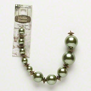 "Bead, Blue Moon Beads®, Acrylic Antiqued Gold-finished ""pewter"" (zinc-based Alloy), Green, Graduated Round. Sold Per 7-inch Strand"