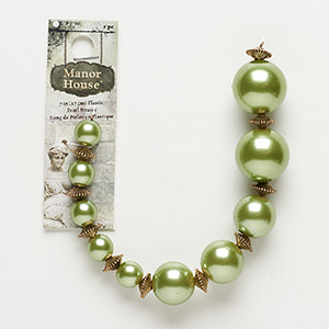 "Bead, Blue Moon Beads®, Acrylic Antiqued Gold-finished ""pewter"" (zinc-based Alloy), Light Green, Graduated Round. Sold Per 7-inch Strand"