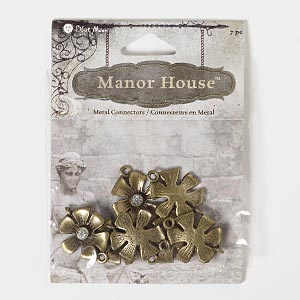 """Charm, Blue Moon Beads®, Antiqued Brass-finished """"pewter"""" (zinc-based Alloy), 19x19mm Flower. Pkg/7"""