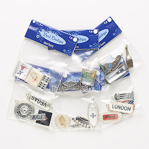 """Component Mix, Blue Moon Beads®, Silver-, Antiqued Silver- Brass-finished """"pewter"""" (zinc-based Alloy) Resin, Multicolored, 11x4mm-45x14mm Mixed Shapes. Sold Per Pkg (6) 4-piece Sets"""