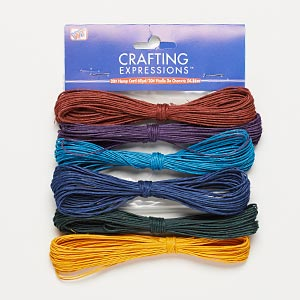 Cord, Westrim®, hemp, assorted colors, 0.5-2mm diameter. Sold per pkg of (6) 10-yard skeins.