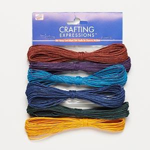 Cord, Westrim®, hemp, assorted colors, 0.5-2mm diameter. Sold per pkg of (6) 10-yard skeins.