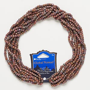 Seed Bead, Blue Moon Beads®, Glass, Brown Rainbow, #6. Sold Per Pkg (8) 14-inch Strands