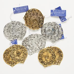 "Focal, Blue Moon Beads®, Antiqued Silver- Gold-finished ""pewter"" (zinc-based Alloy), 45mm Assorted Round. Sold Per Pkg (6) 2-piece Sets"