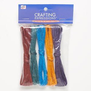 Cord, Westrim®, hemp, assorted colors, 1-2mm diameter. Sold per pkg of (5) 5-yard skeins.