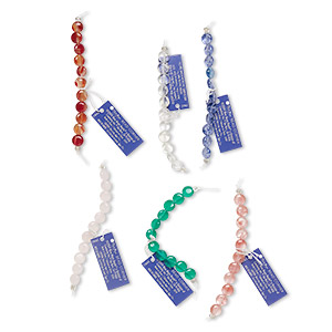 Bead, Blue Moon Beads®, Glass, Assorted Colors, 8mm Flat Round. Sold Per Pkg (6) 11-piece Sets