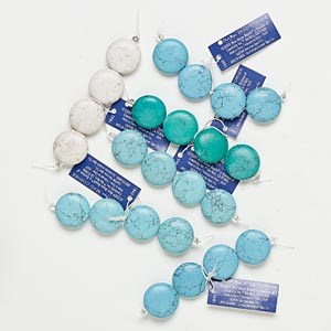 Bead, Blue Moon Beads®, Magnesite (dyed / Stabilized), Assorted Colors, Flat Round. Sold Per Pkg (6) 4-piece Sets