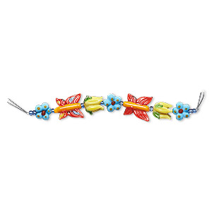 Bead, Lampworked Glass, Multicolored, 13x13mm-15x15mm Flower / 16x14mm-17x16mm Tulip / 23x20mm-24x21mm Butterfly. Sold Per Pkg 7 Beads
