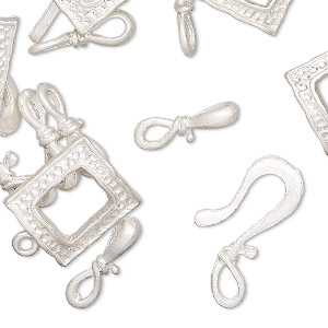 "Clasp, Silver-finished ""pewter"" (zinc-based Alloy), 15x14mm Textured Square Toggle 22x12mm Hook-and-eye. Sold Per Pkg 12"