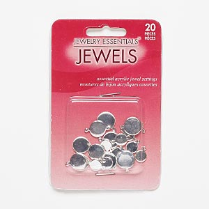 Link Drop, Silver-finished Steel, 8-12mm Assorted Round Serrated Edge 7mm / 10mm / 11mm Round Bezel Setting. Sold Per Pkg 20