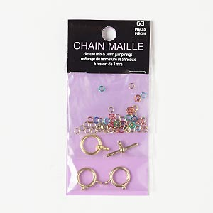 "Clasp Jumpring, Gold-finished ""pewter"" (zinc-based Alloy), Multicolored, 3mm Round / 12mm Round Toggle / 12mm Springring, 22 Gauge. Sold Per Pkg 63"