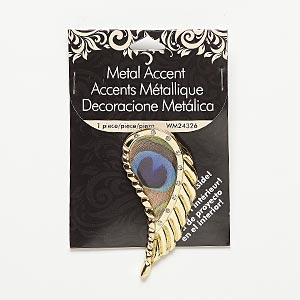 "Focal, Resin / Glass Rhinestone / Gold-finished ""pewter"" (zinc-based Alloy), Multicolored, 63x32mm Feather Peacock Feather Design. Sold Individually"