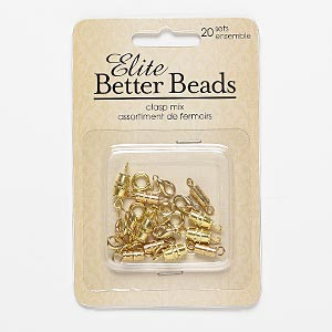 "Clasp, Gold-finished Steel ""pewter"" (zinc-based Alloy), Assorted Shape. Sold Per Pkg 20"