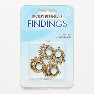 "Drop, Antiqued Gold-finished ""pewter"" (zinc-based Alloy), 18mm Double-sided Round Go-go Cutout Heart Design 5 Loops. Sold Per Pkg 4"
