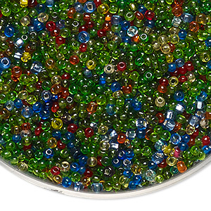 Seed Bead Mix, Vintage Czech Glass, Silver-lined Transparent Mixed Colors, #11 Round. Sold Per 3-ounce Pkg, Approximately 9,800 Beads