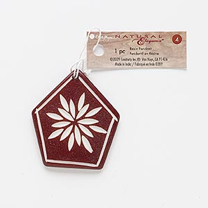 Focal, Resin, Brown White, 45x45mm-51x48mm Carved Pentagon Flower Design. Sold Individually
