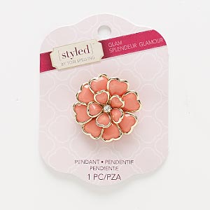 """Focal / Brooch, Glass Rhinestone / Acrylic / Gold-finished Steel / """"pewter"""" (zinc-based Alloy), Pink Clear, 38x38mm Flower 4 Loops. Sold Individually"""