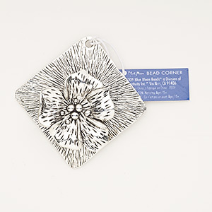 """Focal, Antiqued Silver-finished """"pewter"""" (zinc-based Alloy), 65x65mm Single-sided Textured Diamond Flower Design. Sold Individually"""