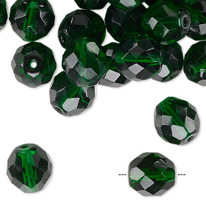 Bead, Vintage Czech Fire-polished Glass, Emerald Green, 10mm Faceted Round. Sold Per Pkg 40