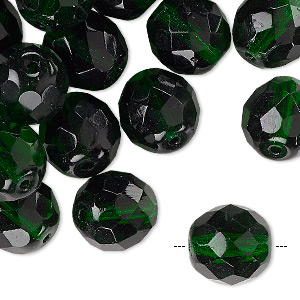 Bead, Czech Fire-polished Glass, Emerald Green, 12mm Faceted Round. Sold Per Pkg 35