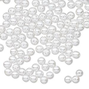 6 Vintage White 14mm Round Lucite Beads