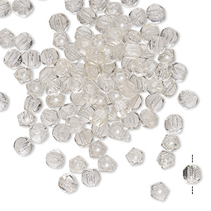 Bead, Vintage Czech Fire-polished Glass, Clear, 3.5-4mm English-cut Faceted Round. Sold Per Pkg 100