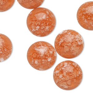 Cabochon, Resin, Transparent Opaque Red White, 14mm Half-drilled Non-calibrated Round. Sold Per Pkg 10