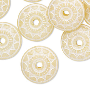 Bead, Coated Acrylic, Marbled Opaque Translucent Light Yellow White, 18x7mm-19x8mm Saucer Heart Design. Sold Per Pkg 20