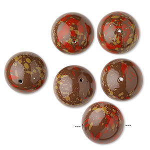 Bead, Coated Vintage Japanese Acrylic, Opaque Brown / Red / Tan, 22mm Round Speckles. Sold Per Pkg 6