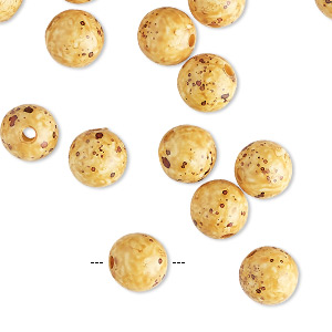 Bead, Coated Acrylic, Opaque Golden Yellow Multicolored, 8mm Round Speckles. Sold Per Pkg 50