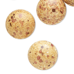 Cabochon, Coated Acrylic, Opaque Golden Yellow Multicolored, 18mm Non-calibrated Round Speckles. Sold Per Pkg 10