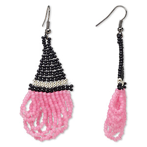 Fishhook Earrings Glass Pinks
