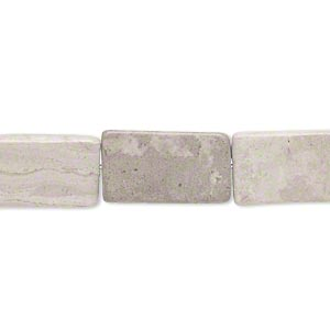 Bead, Grey Cream Marble (natural), Matte, 16x10mm-18x11mm Flat Rectangle, C Grade, Mohs Hardness 3. Sold Per 15-inch Strand