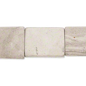 Bead, Grey Cream Marble (natural), 19x14mm-21x15mm Flat Rectangle, C Grade, Mohs Hardness 3. Sold Per 15-inch Strand