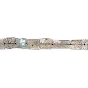 Bead, Labradorite (natural), 5x5mm-10x6mm Hand-cut Faceted Flat Rectangle, B- Grade, Mohs Hardness 6 6-1/2. Sold Per 14-inch Strand