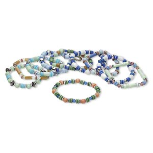 Bracelet Mix, Stretch, Cat's Eye Glass / Glass / Plastic / Silver-coated Plastic / Silver-finished Steel, Multicolored, 6x2mm-26x7mm Mixed Shape, 7 Inches. Sold Per Pkg 10 D4542CL