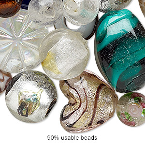 Bead Mix, Lampworked Glass, Mixed Colors, 7x5mm-29x20mm Mixed Shape. Sold Per 1/4 Pound Pkg, Approximately 25-30 Beads