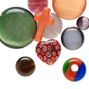 Bead Component Mix, Glass / Millefiori Glass / Cat's Eye Glass, Mixed Colors, 8-24mm Mixed Shape. Sold Per Pkg 10
