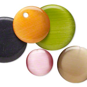 Focal Mix, Cat's Eye Glass, Mixed Colors, 30-50mm Puffed Flat Round. Sold Per Pkg 5