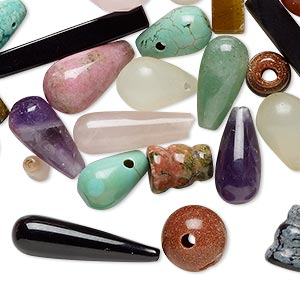 Bead Mix, Multi-gemstone (natural / Dyed / Manmade) Glass, Mixed Colors, 9x5mm-25x13mm Mixed Shape, Mohs Hardness 3 7. Sold Per Pkg 25