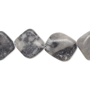 Beads Grade C Grey and Black Marble