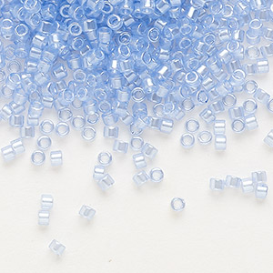 Seed Bead, Delica®, Glass, Transparent Crystal Glazed Luster Blue Topaz, (DB1475), #11 Round. Sold Per 50-gram Pkg DB1475