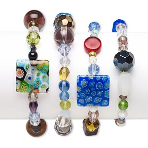 Bracelet Mix, Stretch, Glass, Mixed Colors, 4mm-18mm Multi-shape, 6-1/2 Inches. Sold Per Pkg 4 E1265CL